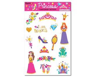 Princess Temporary Tattoo for Girls. Great for Princess Themed Birthday Party. Use it for Temporary Tattoo Booth or Party Favour.