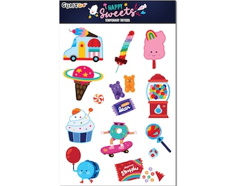 Happy Sweets - Candy Ice Cream Temporary Tattoo Sheet for Birthday Party