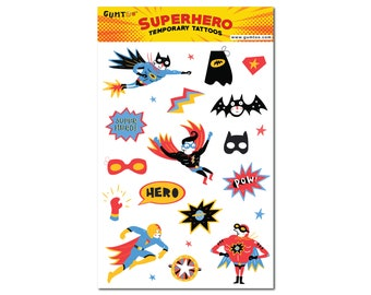 Superhero Temporary Tattoos for Boys. Give them as Party Favor or setup a Temporary Tattoo booth at your Kids  Birthday Party.