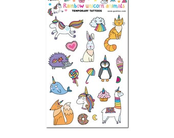 Unicorn Temporary Tattoo for Kids. Use Rainbow Animal Tattoos at Birthday Party, Kids Carnivals or give them away in a Goodie Bag.