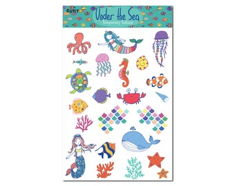 Under the Sea Mermaid Temporary Tattoo Sheet. Use is as a Birthday Favor for Girls Birthday Party