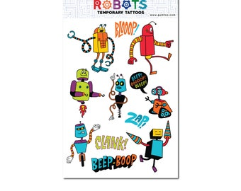 Robots Temporary Tattoo Sheet for Birthday Party, Kids Carnivals