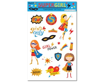 Super Girl Temporary Tattoo Sheet for Birthday Party