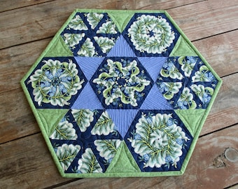 Hexagon Table Topper Quilted Table Runner Kaleidoscope Quilt Small Hexagon Quilt Blue Green Floral Table Runner