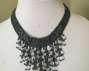 Waterfall Beaded Necklace, Seed Bead Necklace, Bib Necklace, Lariat, Colllar Neckalce, Elegant Necklace, Statement Necklace