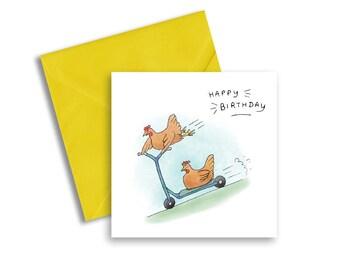 Fun Cute Chicken Birthday Card