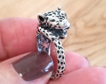 AAA Solid Quality Amazing Leopard Face Silver Ring For Christmas svr4643 925 Sterling Silver Handmade Unisex Ring Jewelry Size US 7