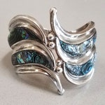 RESERVED for Marne -Vintage Taxco Sterling Silver Abalone Clamper Cuff Bracelet, SIGNED, Mexican Abalone Cuff Bracelet