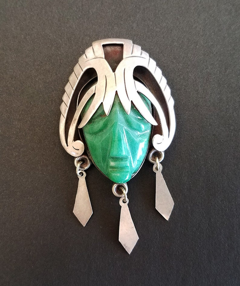 e943f58d7aa0a Vintage Taxco Sterling Silver Carved Green Onyx Mask Face Brooch Pin with  Dangles, Signed
