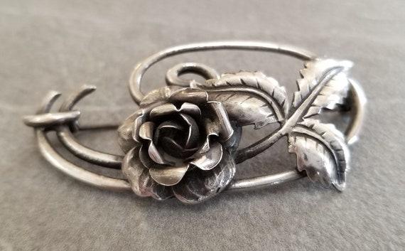 Vintage Sterling Silver Art Nouveau Rose Brooch, … - image 6
