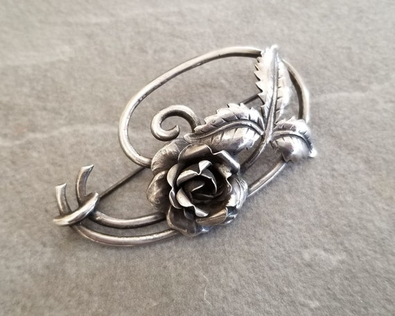 Vintage Sterling Silver Art Nouveau Rose Brooch, … - image 3