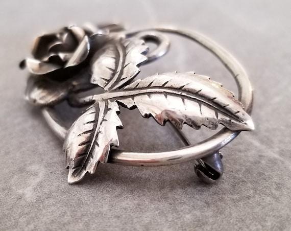 Vintage Sterling Silver Art Nouveau Rose Brooch, … - image 7