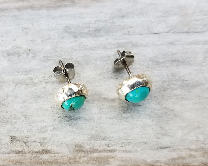 8mm Unique Natural Turquoise Hammered Sterling Silver Stud Earrings Made in USA Designer Mary B Hetz