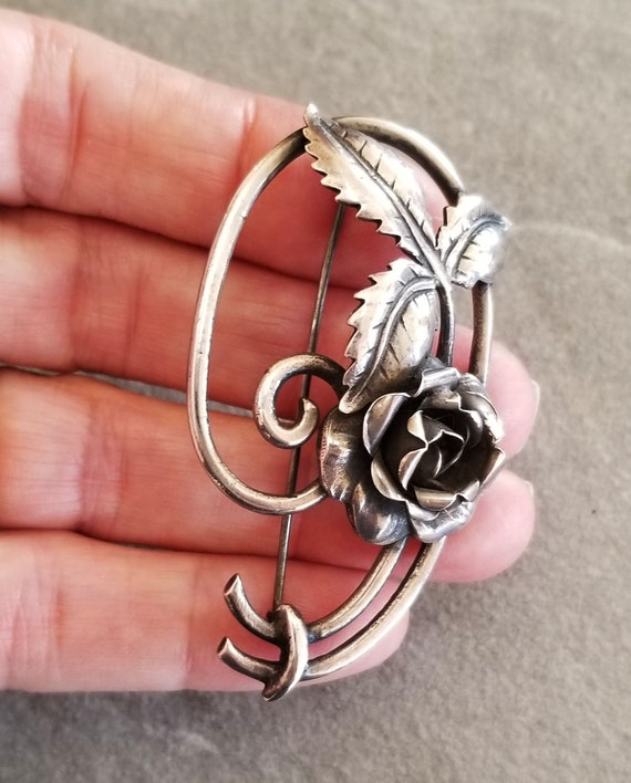 Vintage Sterling Silver Art Nouveau Rose Brooch, … - image 2