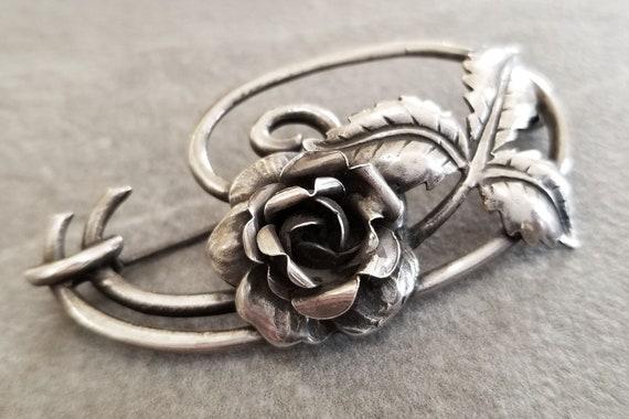 Vintage Sterling Silver Art Nouveau Rose Brooch, … - image 5