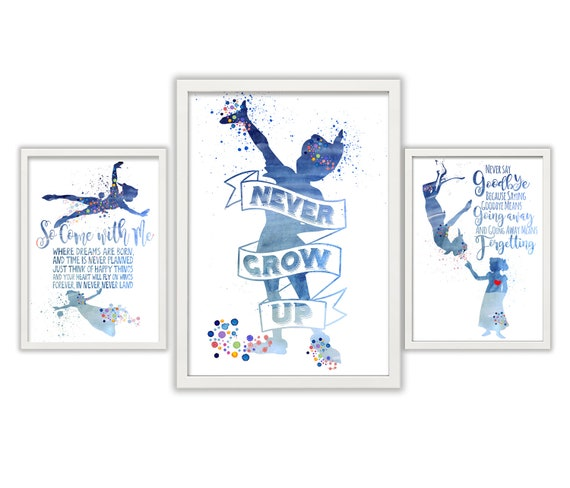 Peter Pan Quotes Triple Setnever Grow Up Never Say Goodbye Etsy