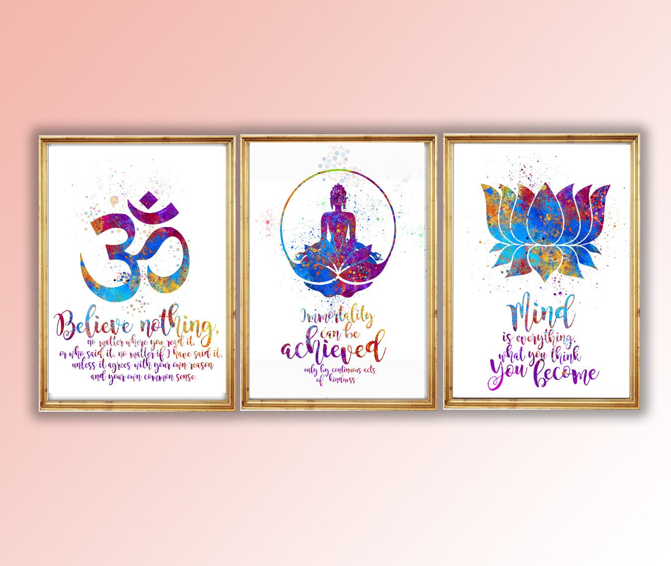 Buddha Symbols And Quotes Aum Ombuddha And Lotus Flower Etsy