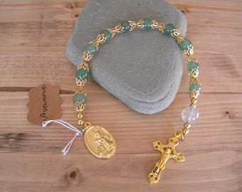 Aventurine and gold rosary