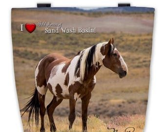 """Premium Tote Bag Featuring Picasso 16""""x16"""" - Custom Designed and Printed Photo of Sand Wash Basin Wild Stallion Picasso, wild horse mustang"""