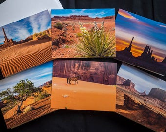 Set of Six Southwest 4x6 Notecards, Monument Valley Arizona, Mystery Valley, Valley of the Gods Utah, colorful coral sand, blooming yucca