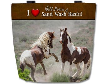 """Premium Tote Bag Featuring Tango and War Horse of Sand Wash Basin  16""""x16"""" - Custom Designed , wild mustang stallion battle, made in the USA"""