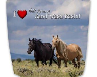 "Premium Tote Bag Featuring Corona of  Sand Wash Basin  16""x16"" - Custom Designed , wild mustangs, Corona and Em, made in the USA"