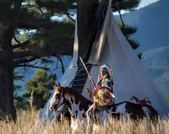 Native American in Full Headdress in Front of Teepee - 8x8 Original Digital Art Metal Print, Indian paint horse, teepee, headdress