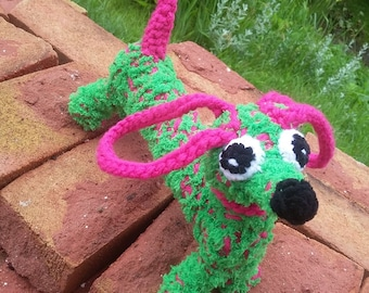 Tickle, knitted sausage dog