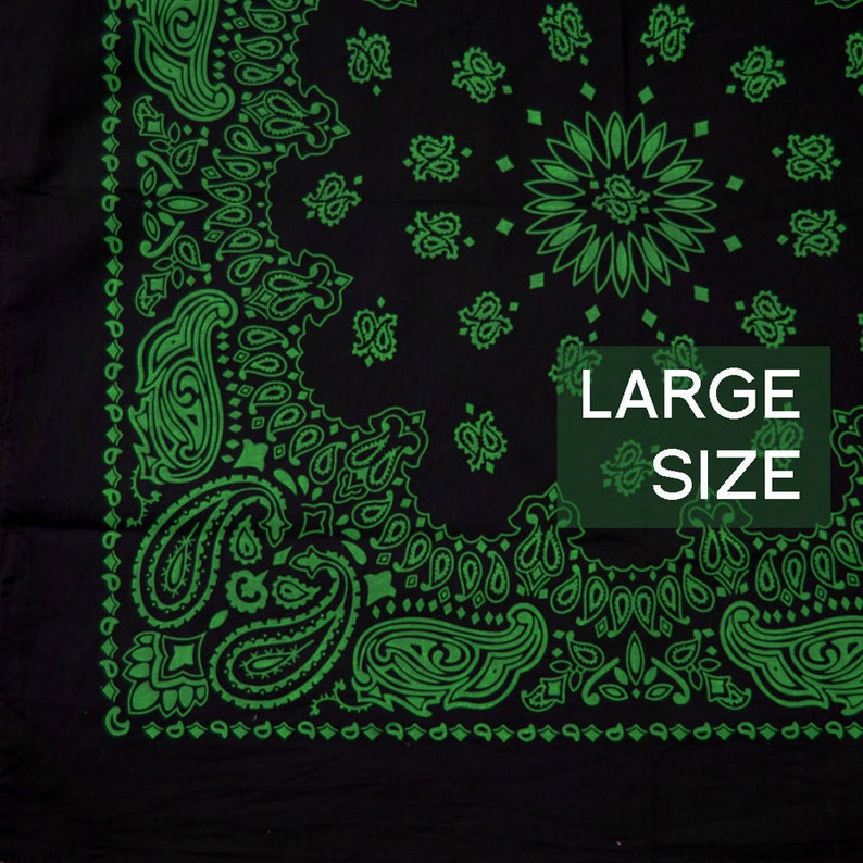Large Bandana Black and Green Cotton 27 Square Cowboy  a9ad0011214