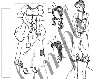 CINDERELLA Black and white paper doll set