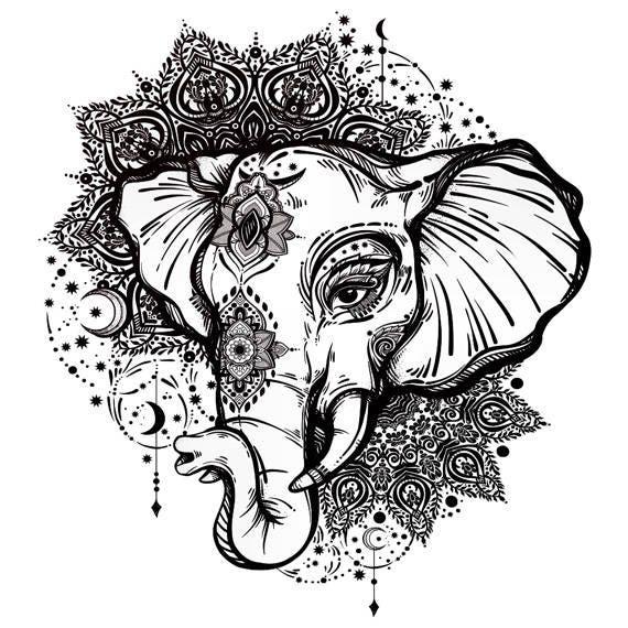 Tatouage Temporaire Elephant Mandala Etsy
