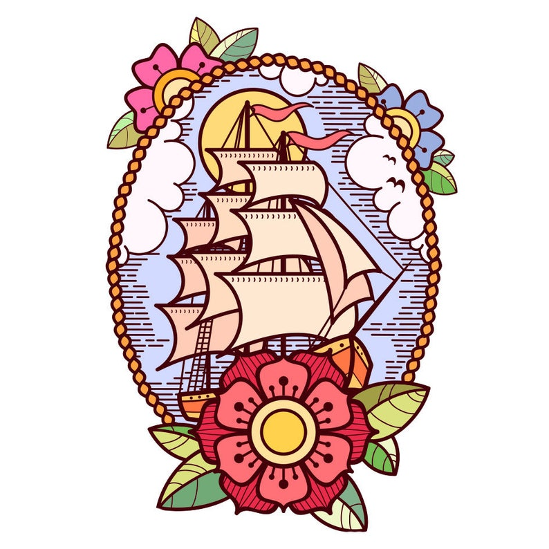 Sets Boat Old School Temporary Tattoos image 0
