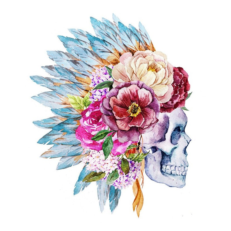 Sets water color skull temporary tattoos image 0