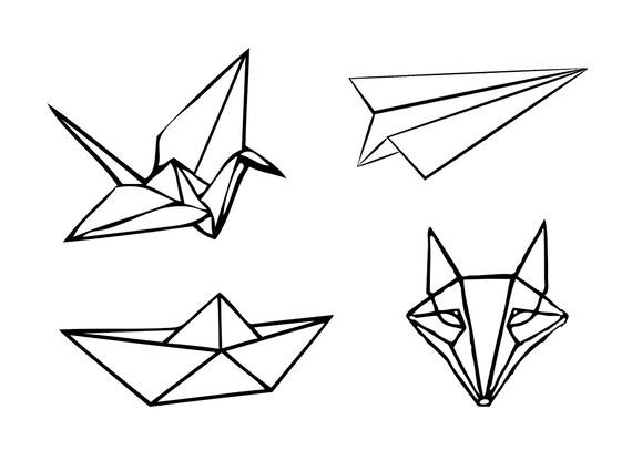Tatouages Temporaires Origami Etsy