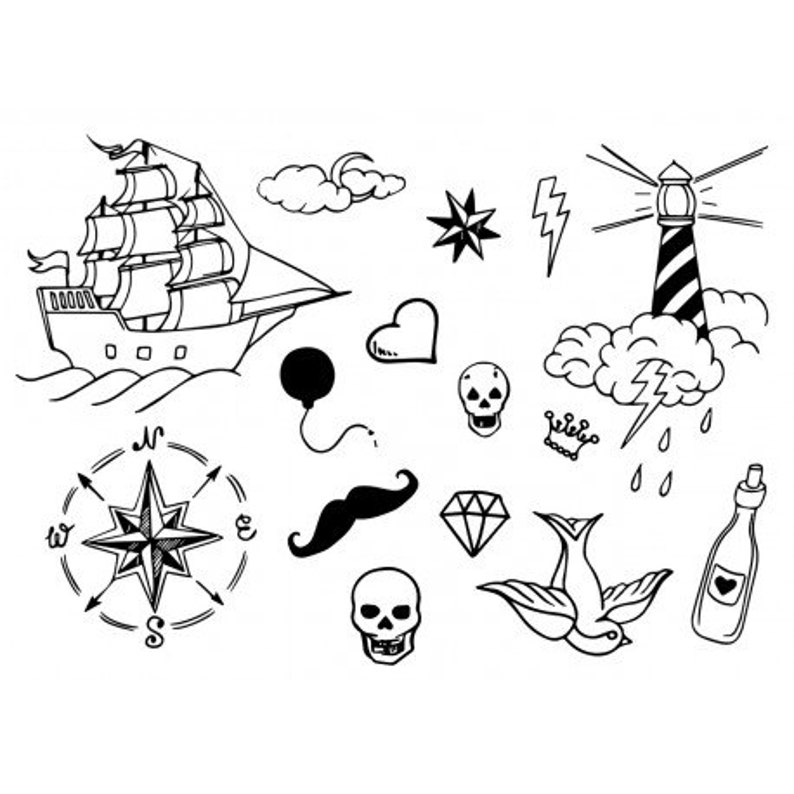Sets Old School Temporary Tattoos image 0