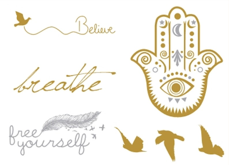 Sets Golden temporary tattoos Birds Words  Hand of Fatima image 0