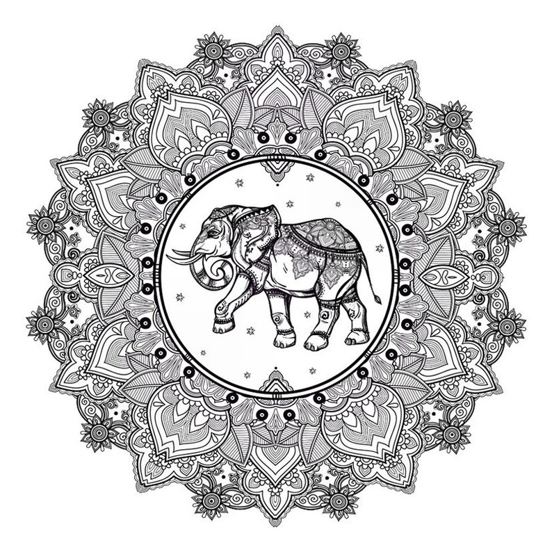 Sets elephant and mandala temporary tattoos image 0