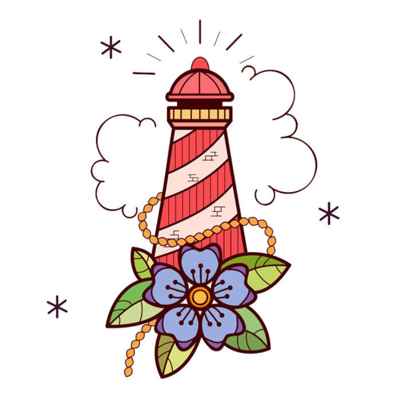 Sets Headlight & Old School Flower Temporary Tattoos image 0