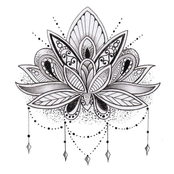Fleur De Lotus tatouage temporaire fleur de lotus | etsy