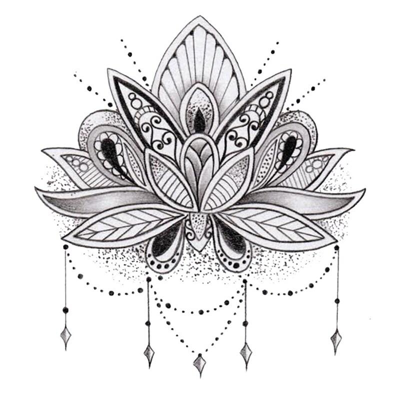 tatouage temporaire fleur de lotus etsy. Black Bedroom Furniture Sets. Home Design Ideas
