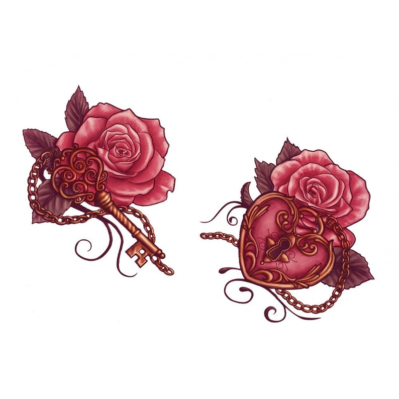Sets two roses with a key and a lock temporary tattoos image 0