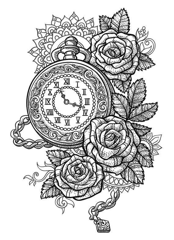Sets Pocket Watch Roses And Mandala Temporary Tattoos Etsy