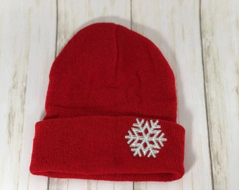 d660d69fe18144 Snowflake embroidered stocking cap, can be personalized, 4 colors to choose  from