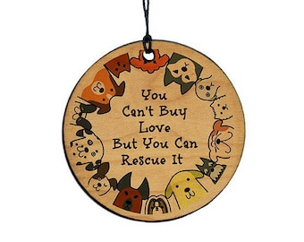 Dog Lovers Christmas Ornament, Adopt A Pet, Dog Mom, Dog Dad, You can't buy love but you can rescue it
