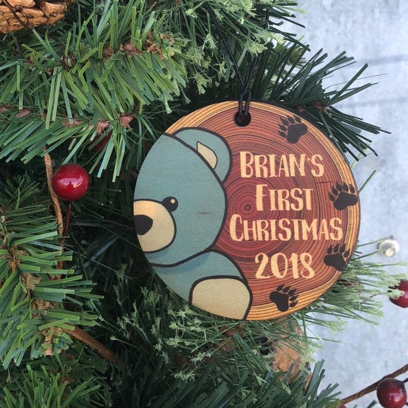 Bear Boys First Christmas Wood Christmas Ornament