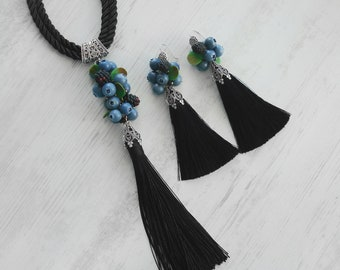 Pendant and earrings with silk tassels and blueberries and blackberries made of polymer clay