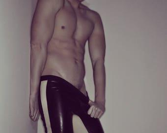 9ca3f0e8ed2 NIGHTWALKER - Black biker pants Meggings Athletic leggings Men Wet Latex  Look Vegan Leather Sexy Hot Erotic Gay BDSM Dom Master Fetish Sport