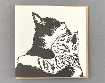 Cats Cuddling  - Anniversary card - Valentines Day card - Wedding card - cat love - For wife - Wedding anniversary - husband - cat cuddle