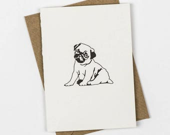 Pug puppy card - Thank you cards - Letterpress note cards - Small note cards - Dog card - little dog card - Birthday Card - puppies note
