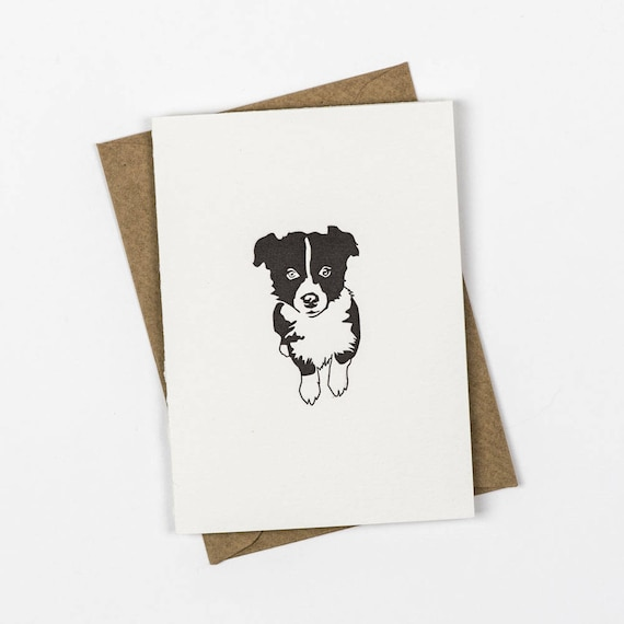 Border Collie Puppy Card Thank You Cards Letterpress Note Cards Small Note Cards Dog Card Birthday Card Puppies Note Card